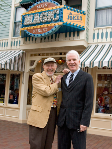 Magician Wally Boag and Steve Martin at Main Street Disneyland