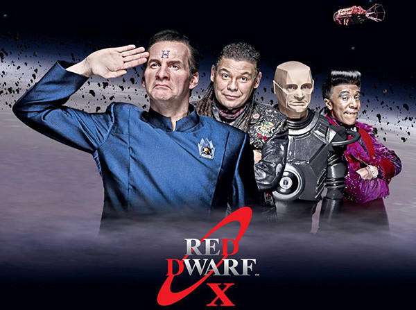The cast of Red Dwarf, written by writer Doug Naylor