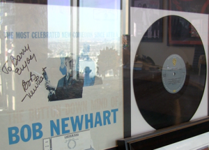 Signed Bob Newhart album in the office of Barry Katz