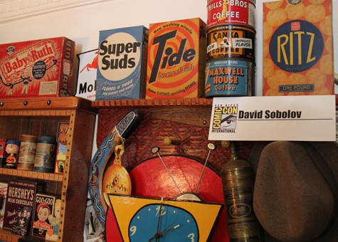 Vintage Packaging in home of voiceover actor David Sobolov