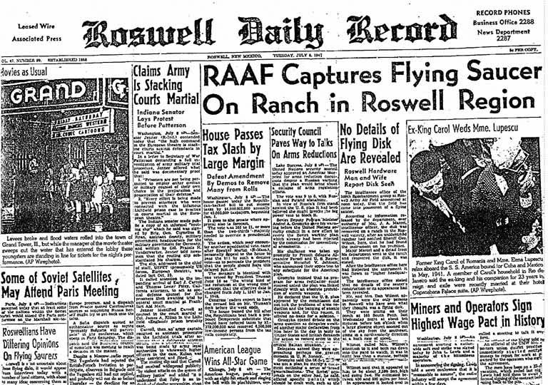 Original newspaper headline for Roswell Crash, New Mexico, July 1947